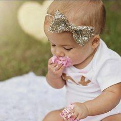 Glittery Bow Headband Gold Headband Birthday by Kutiebowtuties