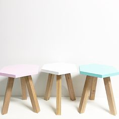 Another wholesale order out the door today. [ Pictured: kids hex stools in mint white and pink. ] by thetimbatrend Bed Headboard Wooden, Headboards For Beds, Dining Room Table Chairs, Mid Century Dining Chairs, Diy Interior Accessories, Kids Furniture, Painted Furniture, Diy Stool, Step Stools