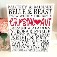 Valentine's gift for her: Disney art print canvas