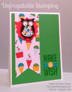 Unfrogettable Stamping | QE birthday card featuring the Owl builder punch, Perfect Pennants stamp set and Cherry on Top DSP stack by Stampin' Up! for week of August 10, 2015