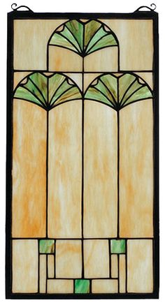 I like the combo of plant & geometric shapes.  Ginkgo Rectangular Stained Glass Window | 11x20 inches