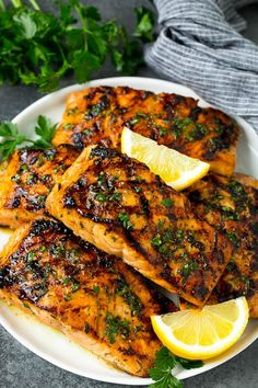 Grilled Salmon with Garlic and Herbs - Dinner at the Zoo salmon recipe - Dinner Recipes Grilled Salmon Marinade, Salmon Steak Recipes, Best Grilled Salmon Recipe, Grilled Fish Recipes, Grilled Seafood, Tilapia Recipes, Grilled Chicken, Healthy Grilling Recipes, Healthy Salmon Recipes