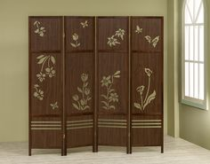 A.M.B. Furniture & Design :: Room Divider Screens :: 4 panel walnut finish wood room divider shoji screen with a floral design in the center