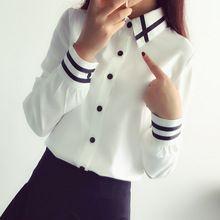 Nueva Moda de Verano 2016 Camisas Blancas de Las Mujeres Blusas y Tops de Rayas de Manga Larga Formal Señoras de la…