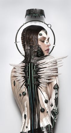 crackled female form of ivory and ebony.as her feathers begin to form.for she is the baby bird finding her wings photographer/artist ALEXANDER FEDOSOV Techno, Foto Fashion, Fashion Art, Dark Fantasy, Fantasy Art, Rude Mechanicals, Ex Machina, Portraits, Archetypes