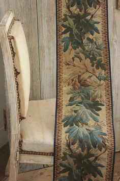 Stunning block printed antique French tapestry look fabric ~ www.textiletrunk.com