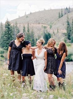mismatched black bridesmaid dresses #bridesmaidsinblack #blackweddingideas #westernwedding http://www.weddingchicks.com/2014/01/16/wild-western-wedding/