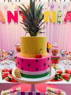 Fruit Birthday Party Ideas Photo 1 of 23 Catch My Party Hawaii Birthday Party, 2nd Birthday Party For Girl, Watermelon Birthday Parties, Fruit Party, 13th Birthday Parties, 23 Birthday, Fruit Birthday Cake, Fruit Fruit, Luau Party