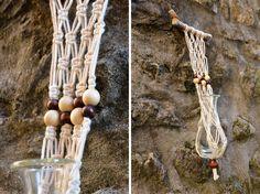 TERRAROOM | Les p'tits coins nature: Suspension - Macramé / Suspension tissage #7 Suspension en macramé fait main avec du fil de coton pour un petit bouquet ou une fleur dans une fiole. Perles en bois. Divers nœuds. -> suspension, creation, décoration, macrame, tissage, accrocher un terrarium, une plante au plafond, les plantes prennent de la hauteur, fils de coton, macrame hanger plant, suspendre ses plantes