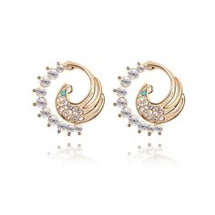 Jewelry manufacturer china fashion crystal earrings gold plated ashes reborn design RS-0266 phoenix shape crystal stud earrings