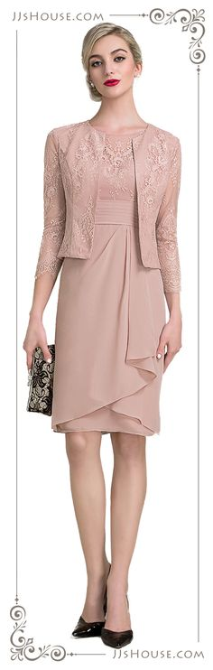 A very feminine and soft color, suitable for Moms. More colors available for this mother of the bride dress. #JJsHouse