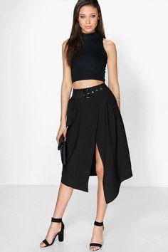 Avah Belted Asymetric Midi Skirt