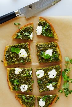 CHICKPEA PIZZA WITH ARUGULA, PISTACHIO NETTLE PESTO & BURRATA (Gluten-free, Grain-free) Serves 4