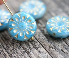 18mm Mixed Blue and Golden Flower beads, 2pc Czech glass Round tablet floral ornament beads, 2pc - 0370 by MayaHoney on Etsy