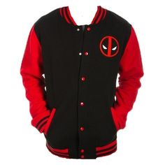 Amazon.com: Marvel Deadpool Logo Letterman Jacket: Clothing ($50) ❤ liked on Polyvore featuring deadpool, black and red