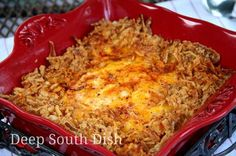 Mashed Potato Casserole, made with heavy cream, milk, butter, sour cream, cream cheese, cheddar cheese, Ranch dressing mix, garlic and onion powder, Cajun seasoning, paprika and French fried onion bits.