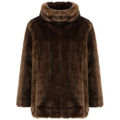 Pre-owned Banana Republic Faux Fur Pullover Jacket Fur Coat ($114) ❤ liked on Polyvore featuring outerwear, coats, brown, banana republic coats, faux fur coat, sweater pullover, brown faux fur coat and fur coat