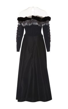 This **Alena Akhmadullina** dress features origami leather adornments and mink patchwork detailing.