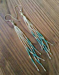 #SeedBead #Earrings Long #Fringe Earrings #Beaded Earrings #White #Silver and #Turquoise #Jewelry #Etsy #letyourcolorout with some fabulous and colorful earrings! #jewelry #earrings #fun #color