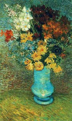 Life. Bouquet of flowers in blue vase, Vincent Van Gogh.