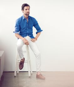 Cool blue shirt with white pants