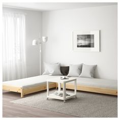 IKEA has recently launched a clever little transformer bed called UTÅKER. If you stack the beds on top of each other, they can be used as a sofa or a spare bed Cama Ikea, Cama Murphy Ikea, Murphy-bett Ikea, Murphy Bed, Bed Ikea, Ikea Twin Bed, Ikea Hack, Ikea Couch, Ikea Bedroom