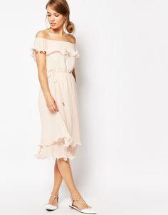 Immagine 4 di Oasis - Vestito midi stile Bardot a pieghe con volant
