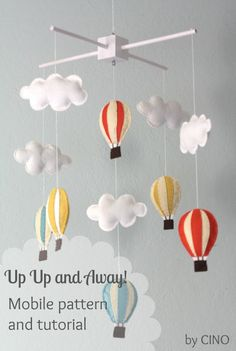 Baby Diy Mobile Colour 49 New Ideas Baby Crafts, Felt Crafts, Diy Hot Air Balloons, Purple Balloons, Deco Kids, Diy Bebe, Diy Inspiration, Felt Diy, Baby Decor