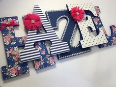 Girls navy blue and hot pink nursery letters by IvoryRoseStudio on Etsy https://www.etsy.com/listing/508296185/girls-navy-blue-and-hot-pink-nursery