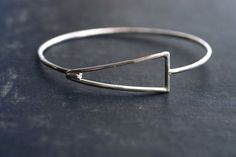 Geometric Sterling Silver Hook Bangle by SDMarieJewelry on Etsy, $98.00