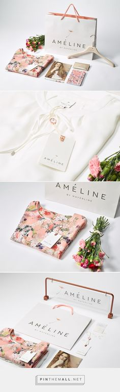 Branding, graphic design and packaging for Ameline By Mayerline brand design on Behance curated by Packaging Diva PD. Pretty fashion design and matching packaging. Brand Identity Design, Graphic Design Branding, Corporate Design, Brand Design, Fashion Logo Design, Fashion Branding, Business Branding, Logo Branding, Branding Agency