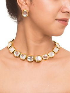 Bridal Jewelry new designer sandals_Gold_Uncut Kundan Choker With Earrings - Indian Wedding Jewelry, Indian Jewelry, Bridal Jewelry, Gold Jewelry, Indian Bridal, Glass Jewelry, Jewelry Design Earrings, Jewelry Sets, Craft Jewelry