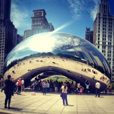 Chicago and its bean, known as Cloud Gate