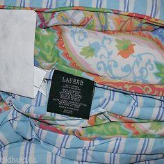 RALPH-LAUREN-Tropical-Blue-Green-Orange-Paisley-4pc-QUEEN-COMFORTER-SET-1st-Qu