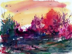 """cold autumn sunse"" - Original Fine Art for Sale - © Mikko Tyllinen"