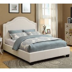 Have to have it. Rath Linen Scroll Platform Bed - Ivory - $669.99 @hayneedle
