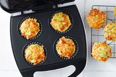 Cooked in a Kmart pie maker in just 15 minutes, these quick and easy muffins taste exactly like zucchini slice, perfect for the kids' lunchboxes. Overnight Oats, Easy Dinners For Kids, Zucchini Slice, Zucchini Muffins, Zucchini Fritters, Just Pies, Savory Muffins, Savoury Pies, Mini Muffins