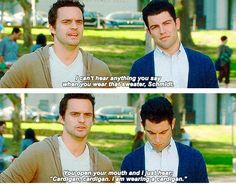 Nick Miller and Schmidt Nick Miller, New Girl Quotes, Tv Quotes, Movie Quotes, Lyric Quotes, Top Des Series, Lol, I Love To Laugh, Hey Girl