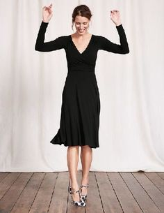 #Boden Long Sleeve Georgia Dress Black Women Boden, #Go ahead, twirl. With a pleated flippy skirt that falls on the knee and flattering ruched detailing across the waist, bust and back, this ultra-feminine dress is perfect for parties. You might want to update that RSVP: this dress is the only plus-one you need.
