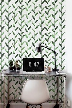 Green Leaf Removable Wallpaper / Leaves Self Adhesive Wallpaper / Botanical Wall Mural /Green Leaf Wallpaper – 115 - Wall treatment Wall Painting Decor, Sponge Painting Walls, Green Leaf Wallpaper, Wall Design, House Design, Wall Treatments, Wall Murals, Adhesive Wallpaper, Renters Wallpaper