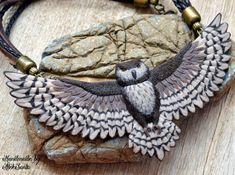 Owl necklace Brown bib necklace Statement by HandmadeByAleksanta
