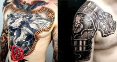 Shining and resolute these armor tattoos are pure class!