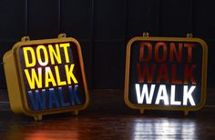 Original Vintage New York Walk/Don't Walk Sign | Exclusive to Heal's, this original 1980s sign has been shipped in from New York to provide a truly unique and original wall light for your home. Made from cast aluminium, each sign has had its circuits rebuilt to alternate from walk to don't walk.