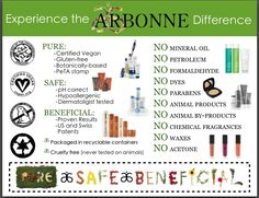 Arbonne rocks and here's why! Arbonne products are healthy, botanically based and inspired by nature.  If interested in Arbonne visit shoponlinearbonne.myarbonne.com There you can access over 200 Health, Beauty, and Nutritional Products. Live your most beautiful life naturally! Cheers! -Rita Walker