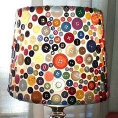 Cute button lampshade for a sewing room!