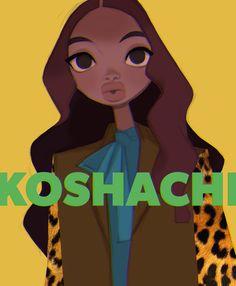 Hitrii Zloi Koshachii on Behance Cute Art Styles, Cartoon Art Styles, Anna Cattish, Etch A Sketch, Poster Drawing, Fashion Design Drawings, Digital Art Tutorial, Afro Art, Pastel Art
