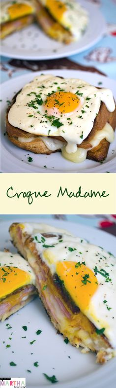 The Croque Madame (AKA grilled ham & cheese sandwich with mornay sauce and egg) is the ultimate breakfast. This Thomas Keller Bouchon version is everything! Brunch Recipes, Breakfast Recipes, Breakfast Ideas, Grilled Ham And Cheese, Sammy, Wrap Sandwiches, Breakfast Time, Cooking Recipes, Egg Recipes