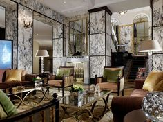 Hotel Esplanade, Zagreb by mkv design. Luxury hotel lobby - marble walls and gold finishings