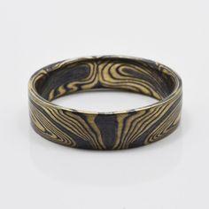 Book matched Mokume Gane Ring in 14kt Yellow Gold and Oxidized Silver - Susan Freda Studios & Arn Krebs Arts