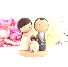 Custom WEDDING CAKE TOPPER With Pet and Mini Circle Stand Kokeshi Doll Wedding Cake Toppers Cute Cake Toppers